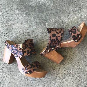 Shoes - Leopard Two Strap Slip On Retro Platform Sandal